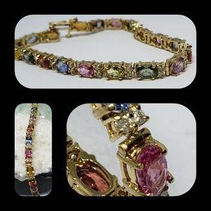 Jewelry - 14K Solid Gold Sapphire/Diamond Bracelet
